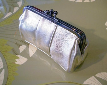 Silver PURSE, leather purse,large purse, silver CLUTCH,make-up bag, retro inspired,  in silver LEATHER.