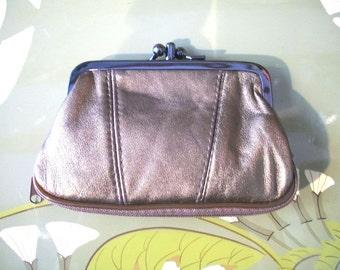 Leather retro romantic purse clutch - metallic COPPER
