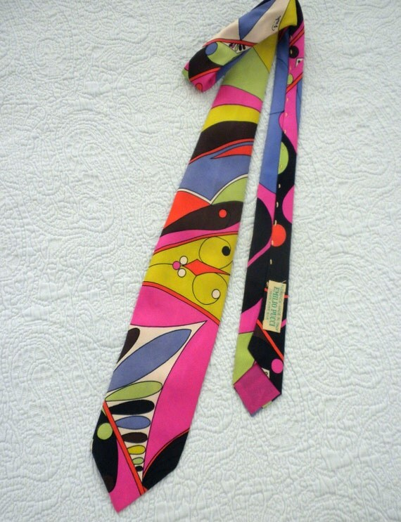 Flash Sale ends Tuesday......60s Pucci Tie / 3 inch wide / Silk / Made in Italy /  Modern Art / Pucci Print
