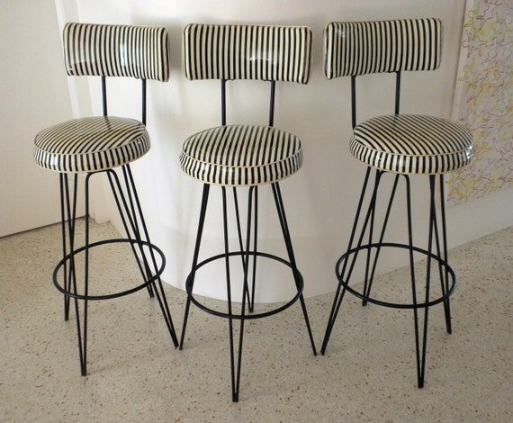 Reserved For Bree 3 Vintage Barstools Black And White Vinyl