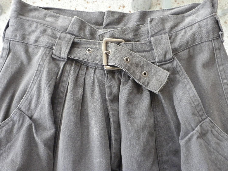 80s pants ton sur ton gray paperbag waist pants self. Black Bedroom Furniture Sets. Home Design Ideas
