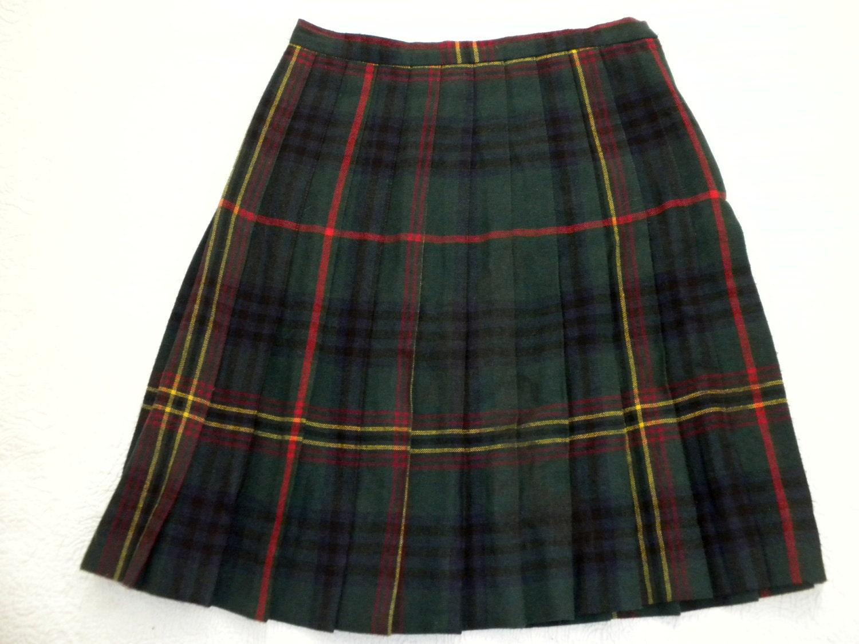 plaid pleated skirt preppy green blue tartan plaid