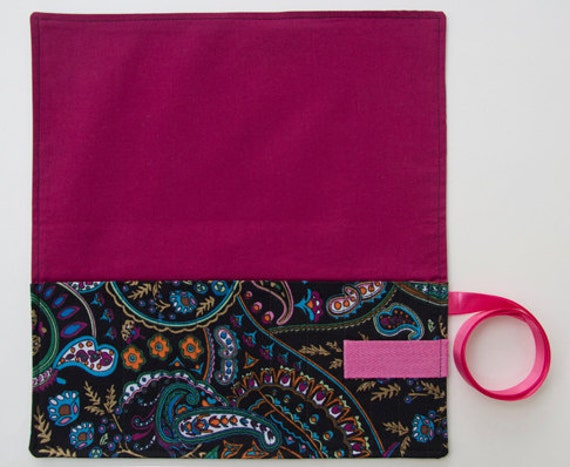 Crochet Hook Organizer Case Black Paisley Fabric