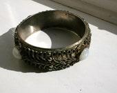 Vintage 1960s filigree metal gemstone bracelet bangle