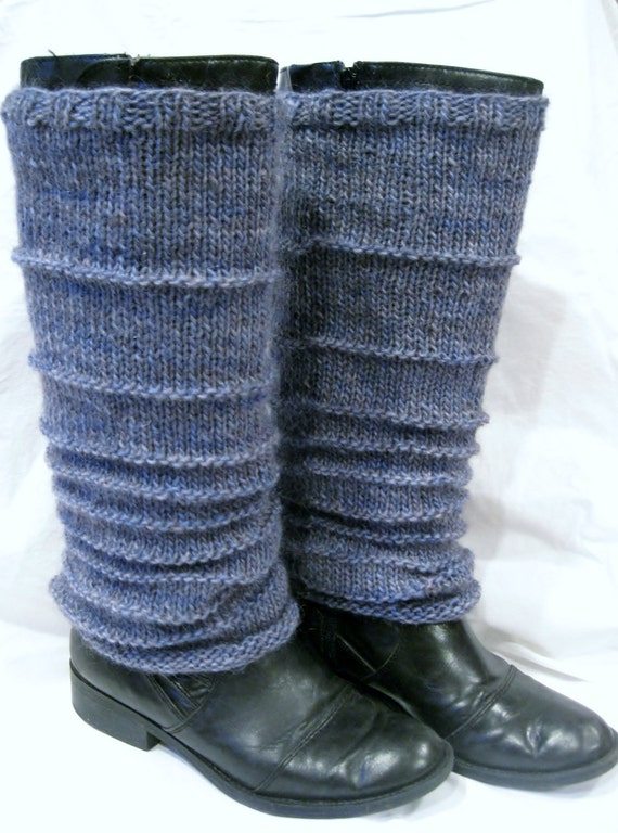 Leg Warmers - Alpaca Wool Mohair, Blue Grey