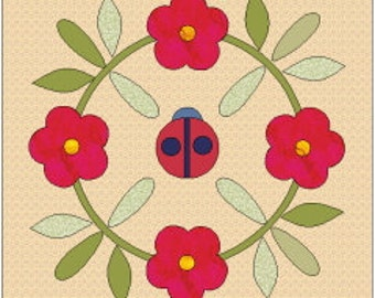 Faith applique quilt block pattern