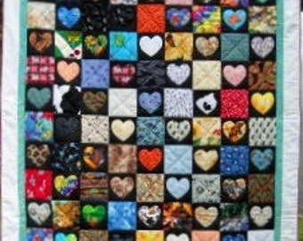 Animal Heart Match Quilt Pattern by Curlicue Creations