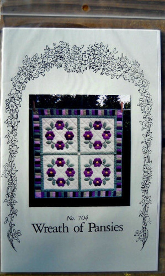 Wreath of Pansies Quilt Pattern, No. 704, by Mollie Fish Designs