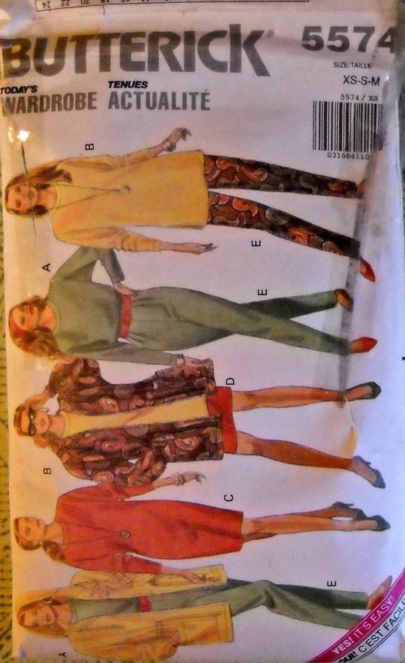 Butterick 5574, Jacket, Dress, Top, Skirt, and Pants pattern, Size XS-S-M, 6-14, Vintage 1991