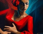 "FLAMENCO ORIGINAL oil painting 24""x48"""