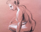 Nude sitting - Original Charcoal Pencil Drawing Sketch from Life Female Model