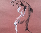 Nude standing - Original Charcoal Pencil Drawing Sketch from Life Female Model