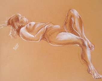Reclining Nude - Original Sanguine Chalk Drawing of the Live Model