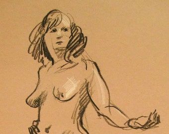 Standing Nude Female - Original Charcoal Pencil Drawing from Life Model