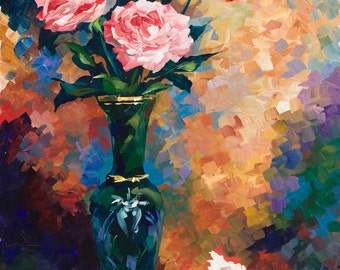 "Roses and Seashell 24""x36"" Giclee Print on canvas"