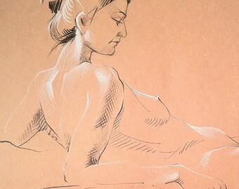 Resting Nude - Original Charcoal Pencil Drawing from Life Model  SALE