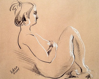Sitting Nude - Original Charcoal Pencil Drawing from Life Model  SALE