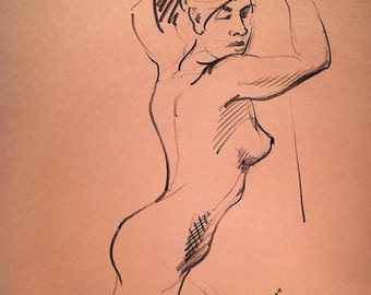Nude on Knees - Original Charcoal Pencil Drawing Sketch from Life Model
