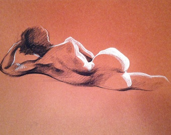 Nude back - Original Charcoal Pencil Drawing Sketch from Life Female Model