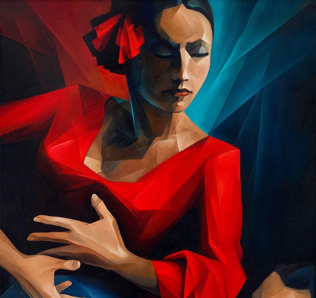 flamenco original oil painting 24x48