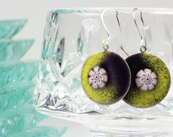 Earrings, Enameled Fine Silver - Color Me Crazy - 09181101