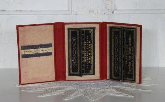 Vintage Leather Needle Case... Heath and Gills Superfine Needle...CZECHOSLOVAKIA...