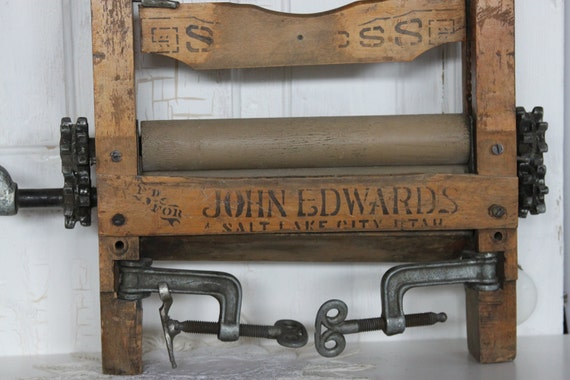 TREASURY...Vintage Washing Wringer.... M F D for John Edwards, Salt Lake City Utah 1896... Advertisement  Wringer..