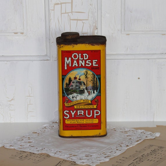 SALE...Vintage Old Manse Syrup Tin....Oelerich and Berry Co.