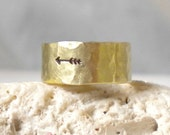 14k Arrow Ring- Hammered Gold Band Ring