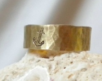 Anchor Ring- Gold Hammered Band Ring- Brass or 14k