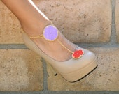 SALE shoe clip and anklet purple and red colorblock