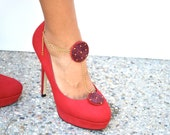 Red and gold bead embroidered shoe clip with anklet