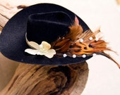 "Alma -- Country Western fascinator 5"" Black felted mini cowboy hat with cream flowers"