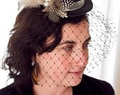 """Lillia--Steampunk style 5"""" mini top hat fascinator in spotted guinea hen feathers, and black veil"""