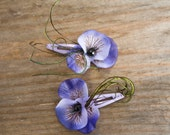 Lera--Purple Violet silk flower barrettes with peacock accent and black rhinestone