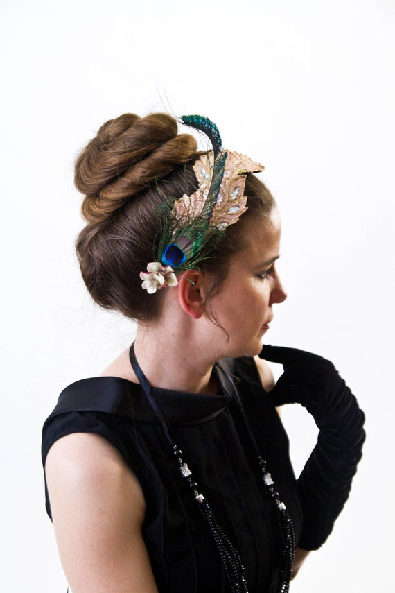 Pearl--Faux Headband Hair Fascinator with peach glitter leaves and natural peacock feathers