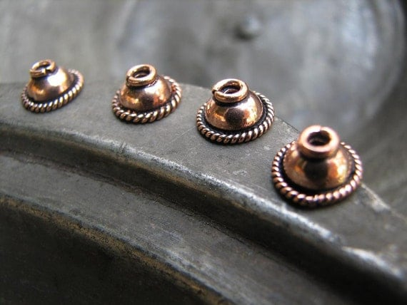 8 pcs Antiqued Solid Copper Bead Caps-COMNS001