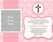 Girl's Baptism Invitations Digital File YOU-PRINT