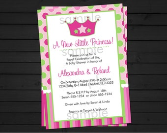 Little Princess - Baby Shower Invitation - A New Princess Printable Invitation- Digital File- Little Princess Baby Shower