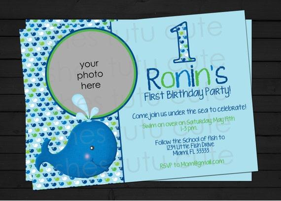 Whale Preppy Birthday Invitation- Ocean Preppy - Preppy Whale Birthday - DIY - Digital File YOU-PRINT