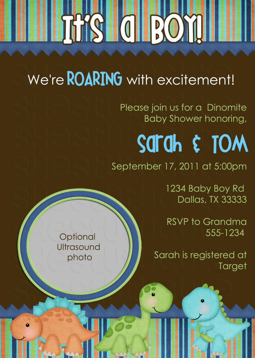 dinosaur birthday or babyshower invitation digital file