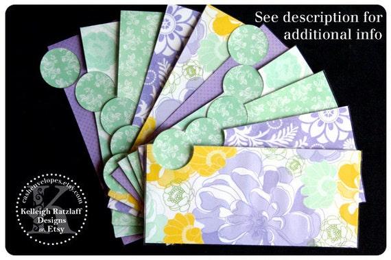 LAMINATED Cash Envelope System in Purple Flowers (10 envelopes)