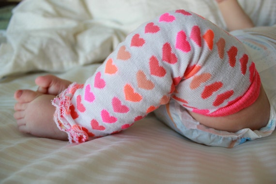 Hot Pink Hearts Baby Leg Warmers