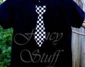Black and white checkered tie shirt