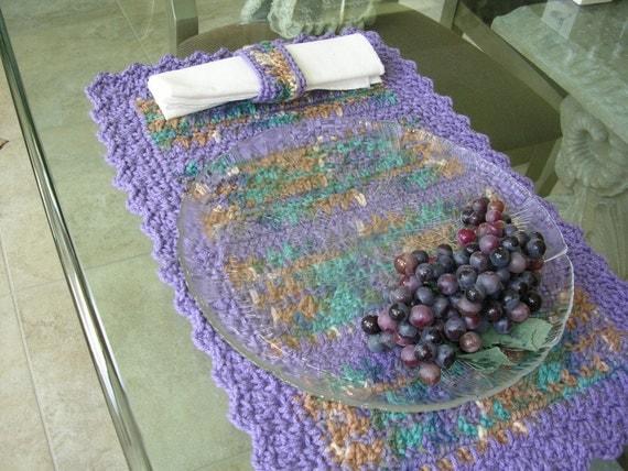 Crochet Placemats - Set of 4 Handmade Placemats - Dining Placemats - Purple Placemats - Kitchen Decor - Rectangular Placemats