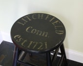 Handpainted Kitchen Stool in distressed paint & custom lettering