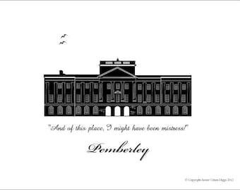 Pemberley - Jane Austen - Pride and Prejudice - Literary Art Print