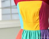 CLEARANCE Vintage seventies dress // neon rainbow colorblock // size 4