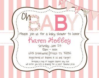 Vintage Pink Stripes Baby Shower Invitation Girl