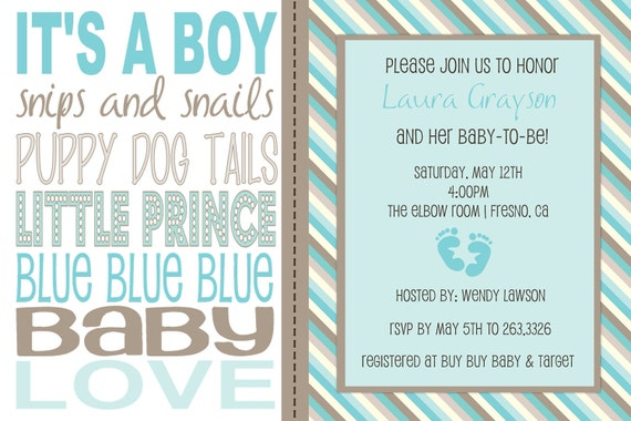 Lovely Items Similar To Baby Boy Wording Shower Invitation On Etsy